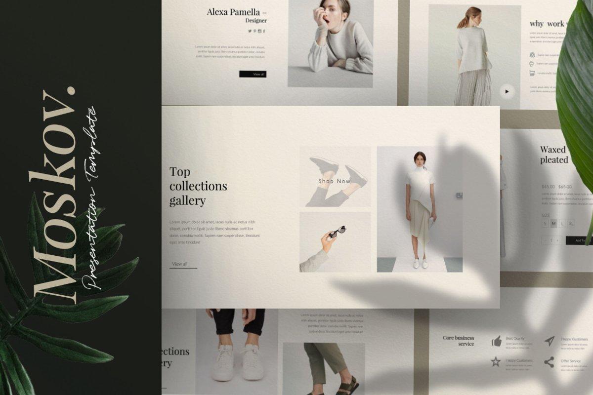 时尚创意多用途男女服装设计介绍PPT模板 Moskov. – Powerpoint插图