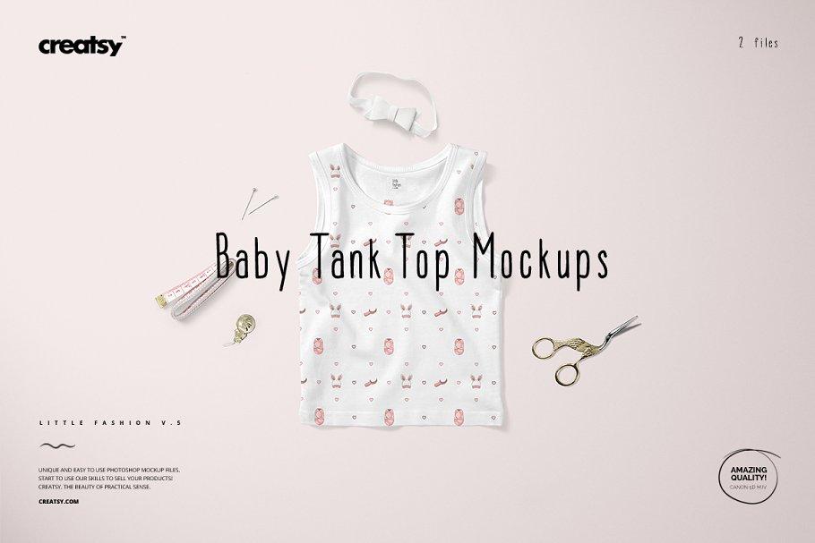 可爱的婴儿背心样机集 Baby Tank Top Mockup Set插图