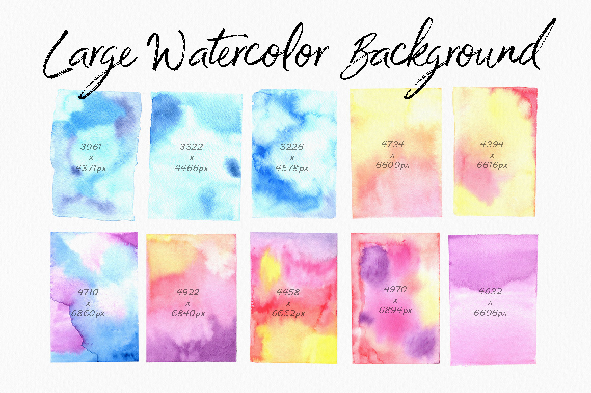 高分辨率多彩的水彩纹理工具包 The Colourful Watercolour Texture Kit插图(9)