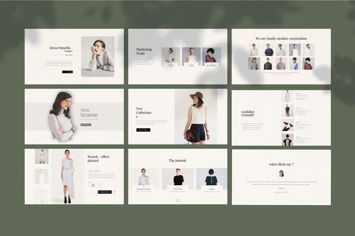 时尚创意多用途男女服装设计介绍PPT模板 Moskov. – Powerpoint插图(8)