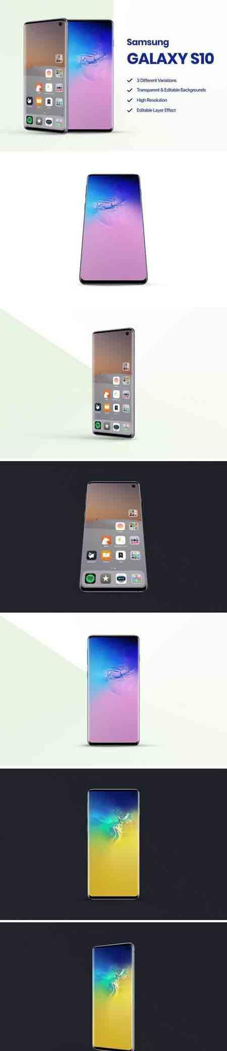 全新发布的三星Galaxy S10样机1.0 Samsung Galaxy S10 Mockup 1.0插图