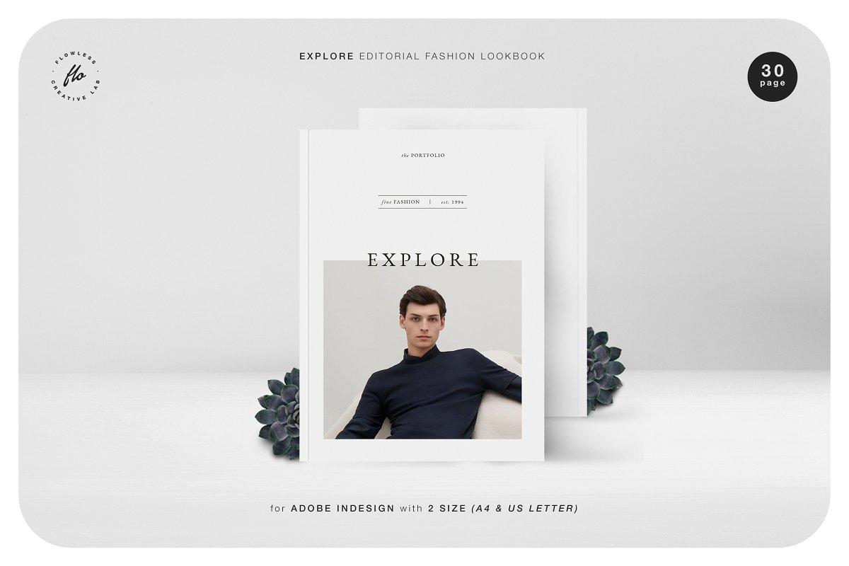时尚潮流男士服饰画册INDD模板 EXPLORE Editorial Fashion Lookbook插图
