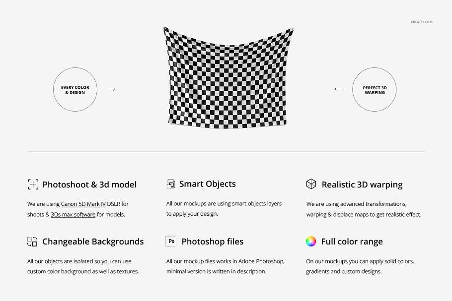 毛茸茸的毯子样机集 Fuzzy Blanket Mockup Set插图(1)