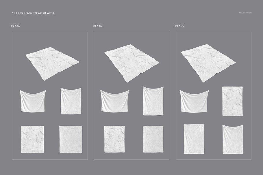 毛茸茸的毯子样机集 Fuzzy Blanket Mockup Set插图(2)