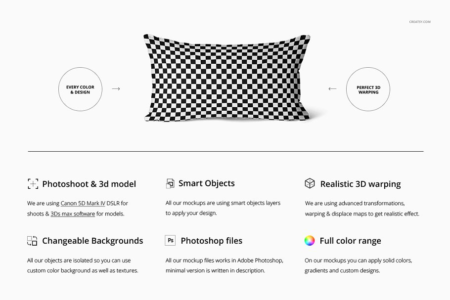 长方形抱枕纺织品样机PSD模板 Fabric Factory v5 Rectangular Pillow插图(1)