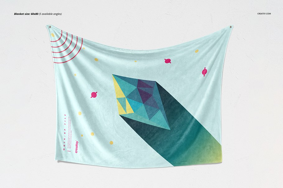 毛茸茸的毯子样机集 Fuzzy Blanket Mockup Set插图(3)