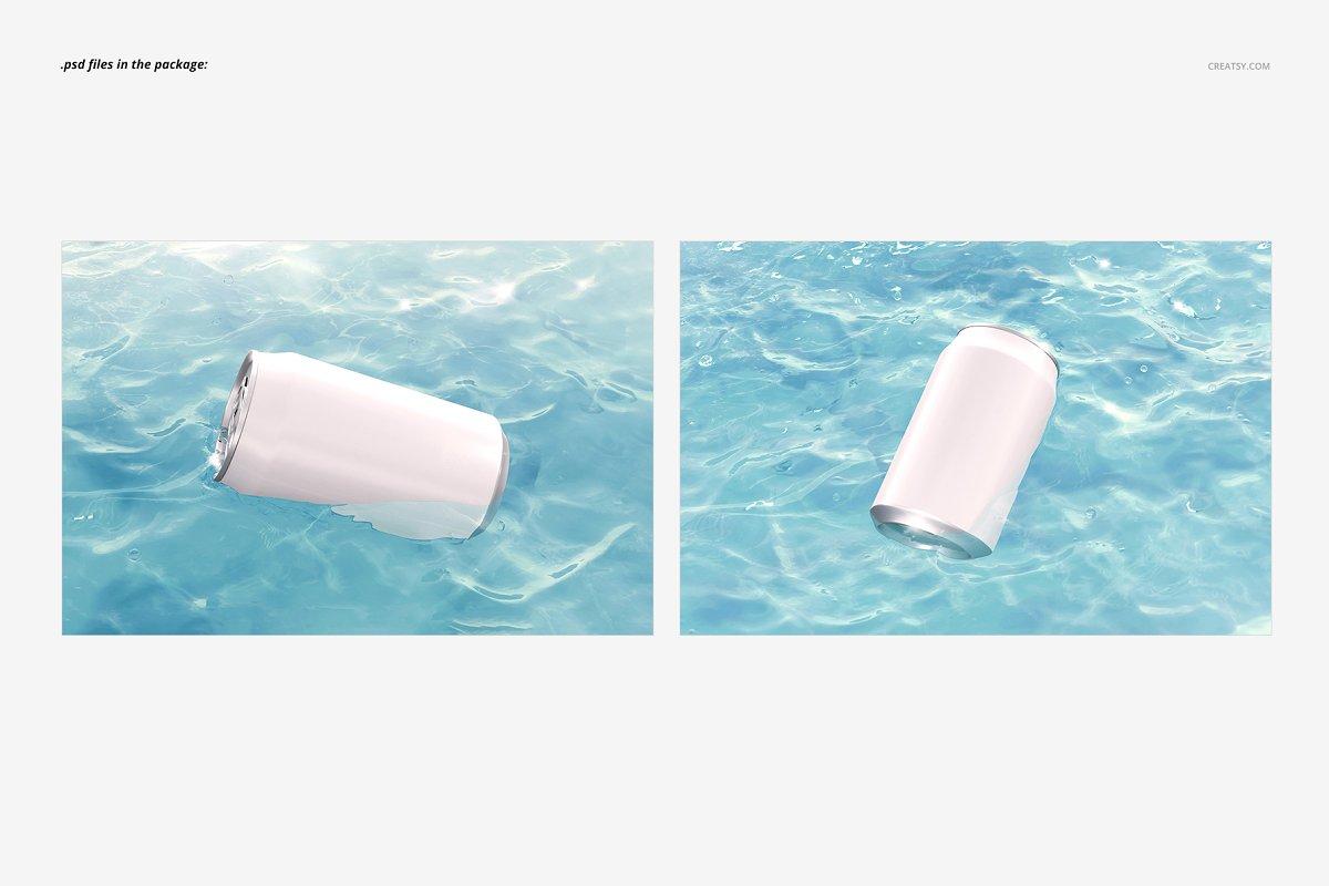 碧水装饰的听装啤酒易拉罐样机 Can in Water Mockup Set插图(2)