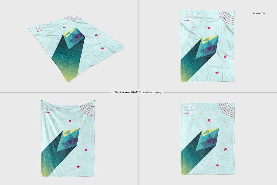 毛茸茸的毯子样机集 Fuzzy Blanket Mockup Set插图(4)