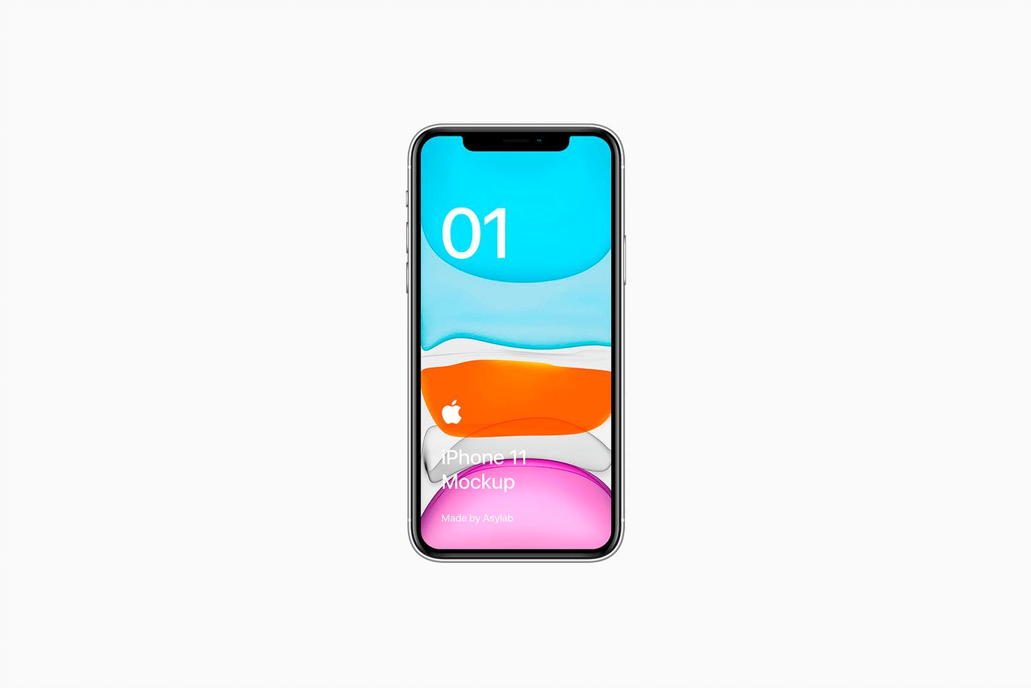 全新iPhone 11手机屏幕界面演示样机PSD模板 iPhone 11 Mockup PSD插图(1)