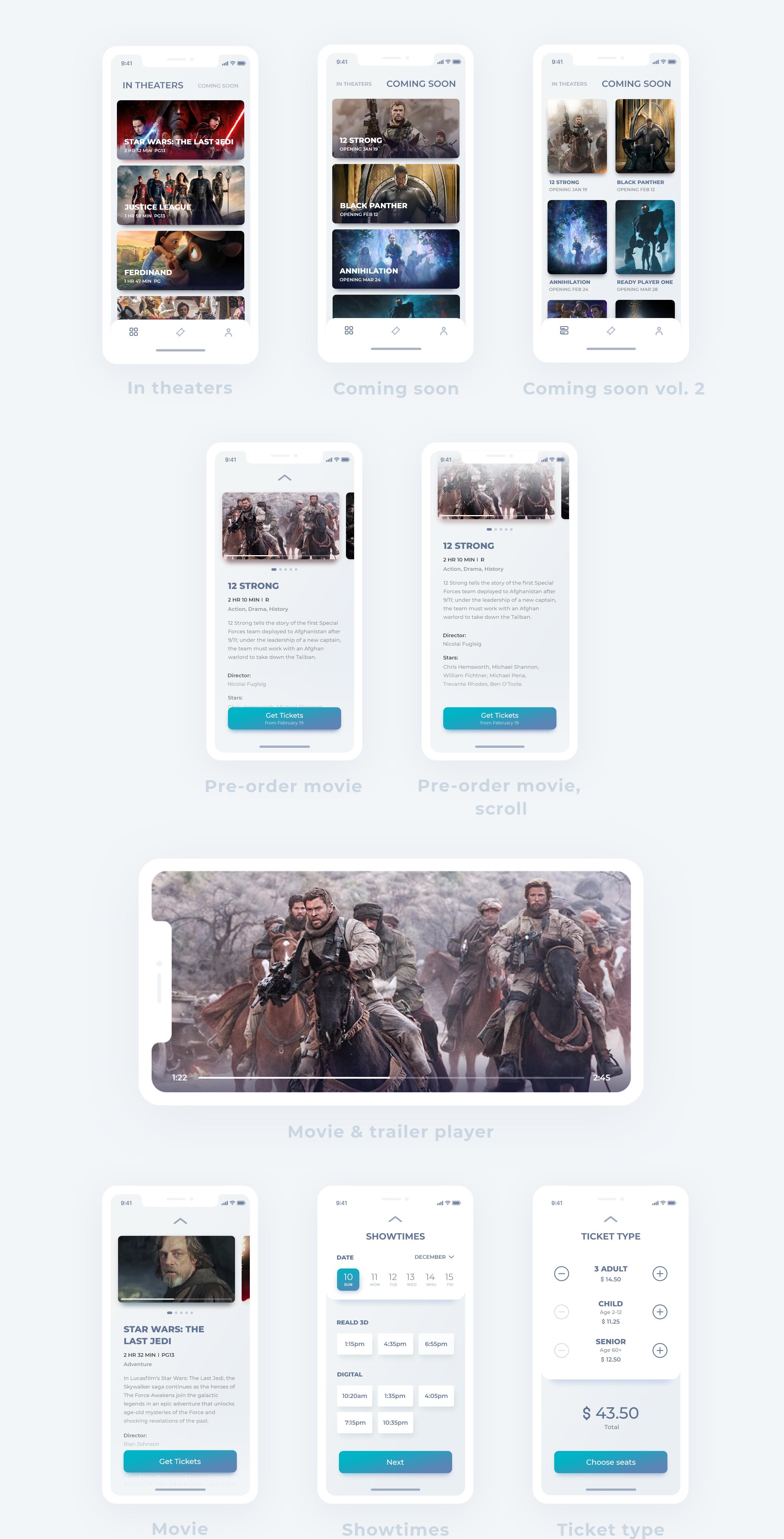 高品质的电影在线订票iOS APP UI工具包 EIGA Cinema UI KIt插图(1)