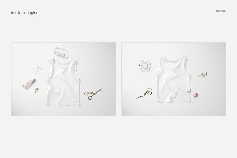 可爱的婴儿背心样机集 Baby Tank Top Mockup Set插图(2)