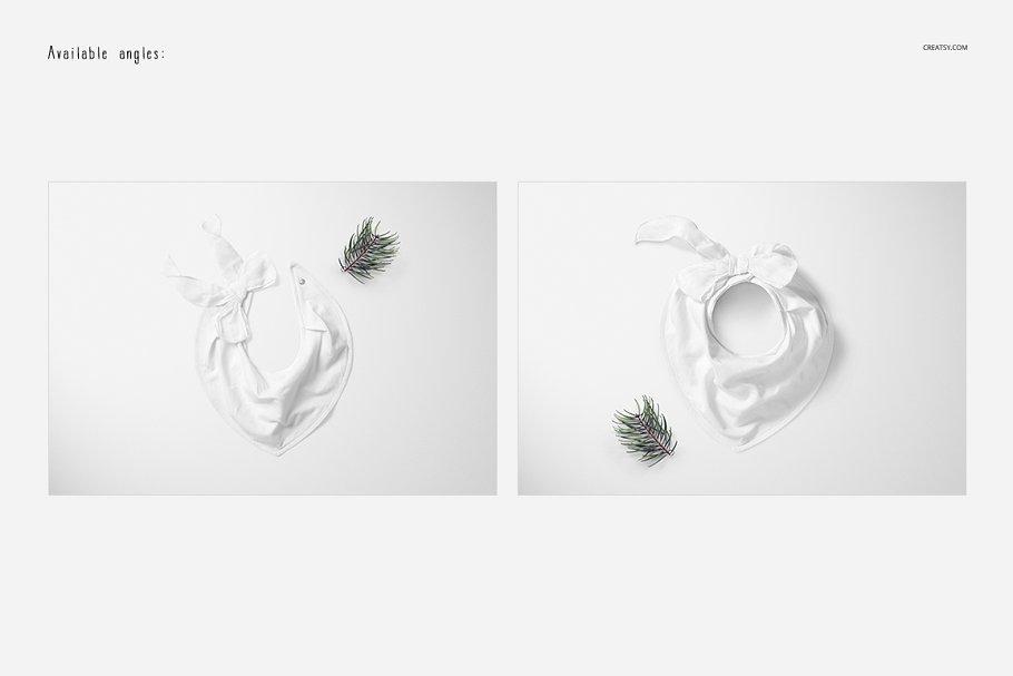 婴儿头巾围兜样机套装PSD模板 Baby Bandana Bib Mockup Set插图(2)