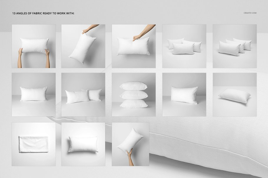 长方形抱枕纺织品样机PSD模板 Fabric Factory v5 Rectangular Pillow插图(2)
