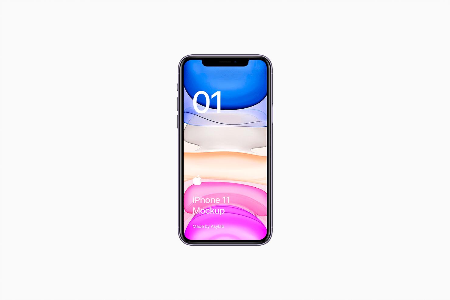 全新iPhone 11手机屏幕界面演示样机PSD模板 iPhone 11 Mockup PSD插图(2)