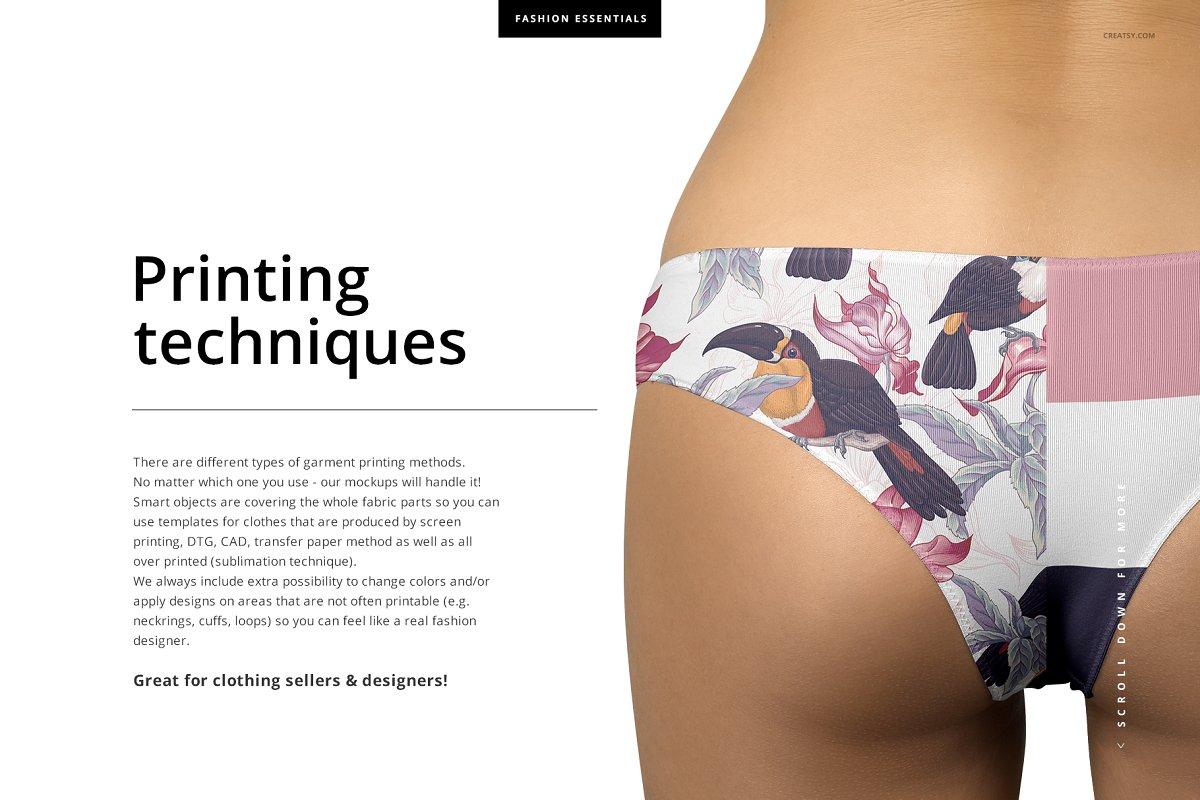 女性内裤内衣样机套装PSD模板 Women's Panties Mockup Set插图(2)