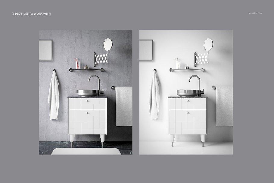 浴室装饰艺术样机集PSD模板 Art Deco Bathroom Mockup Set插图(2)