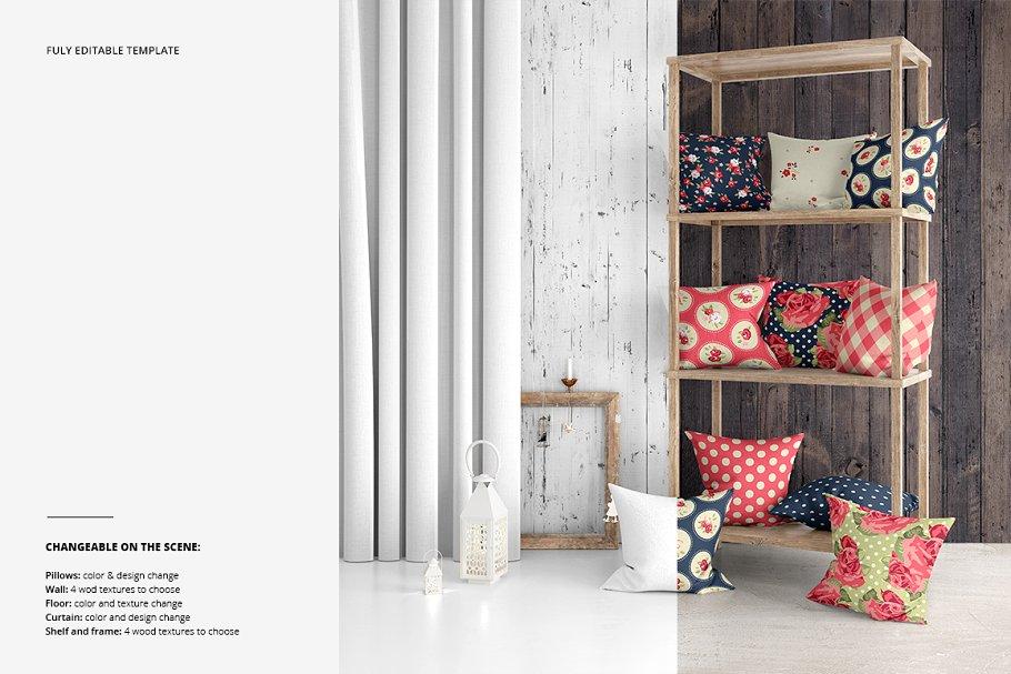 室内场景枕头抱枕样机集 Interior Scene Pillow Mockup Set插图(2)
