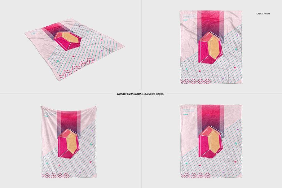毛茸茸的毯子样机集 Fuzzy Blanket Mockup Set插图(6)