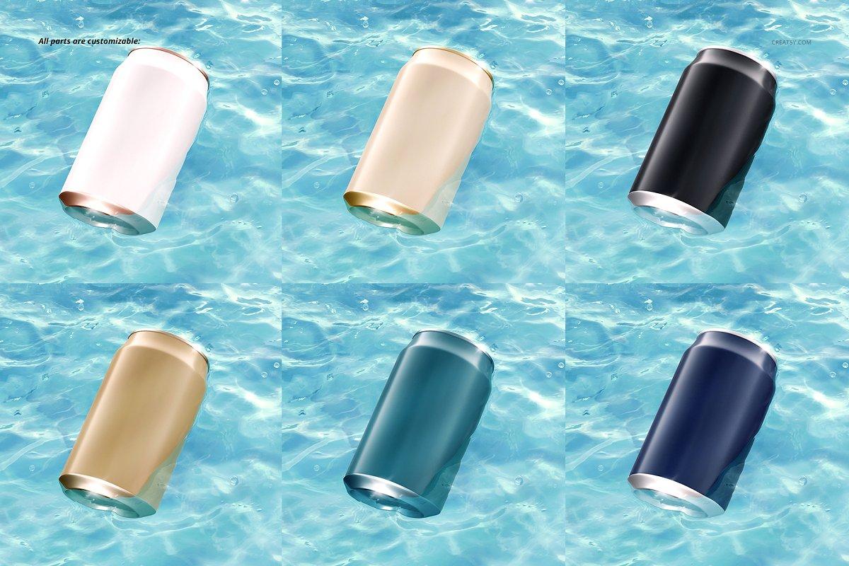 碧水装饰的听装啤酒易拉罐样机 Can in Water Mockup Set插图(5)
