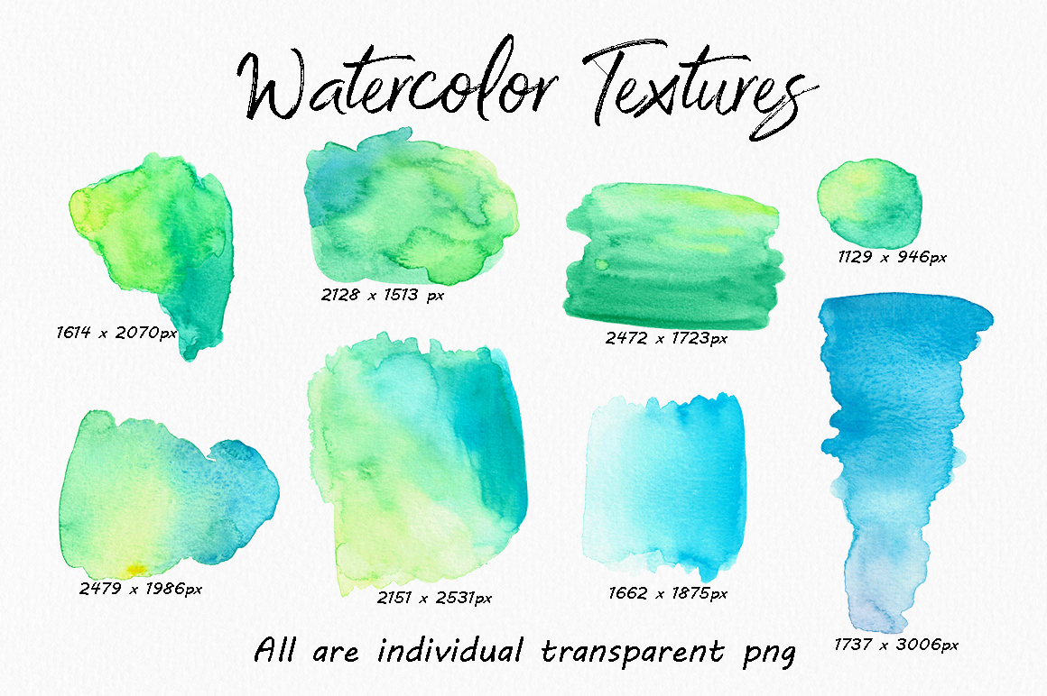 高分辨率多彩的水彩纹理工具包 The Colourful Watercolour Texture Kit插图(2)