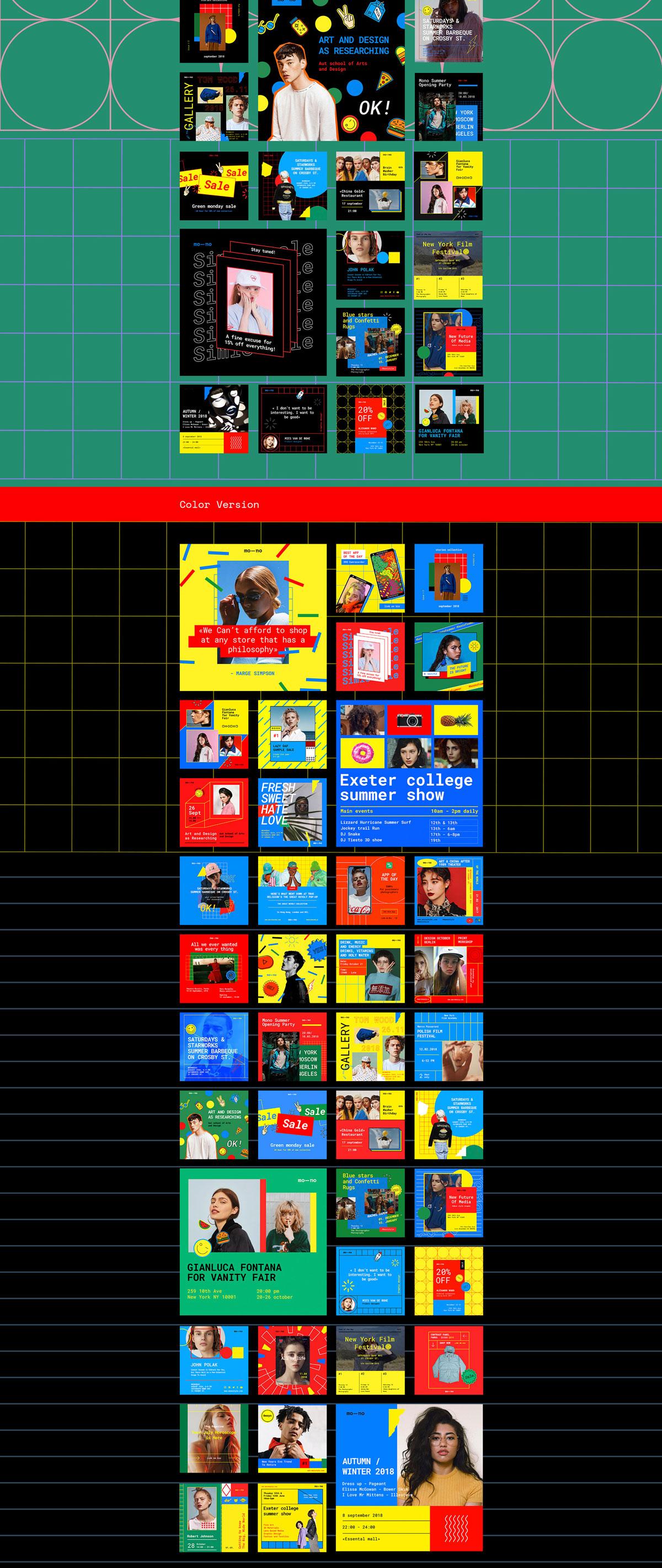 120款孟菲斯风格社交媒体INS风PSD模板 Mono Social Media Kit插图(2)