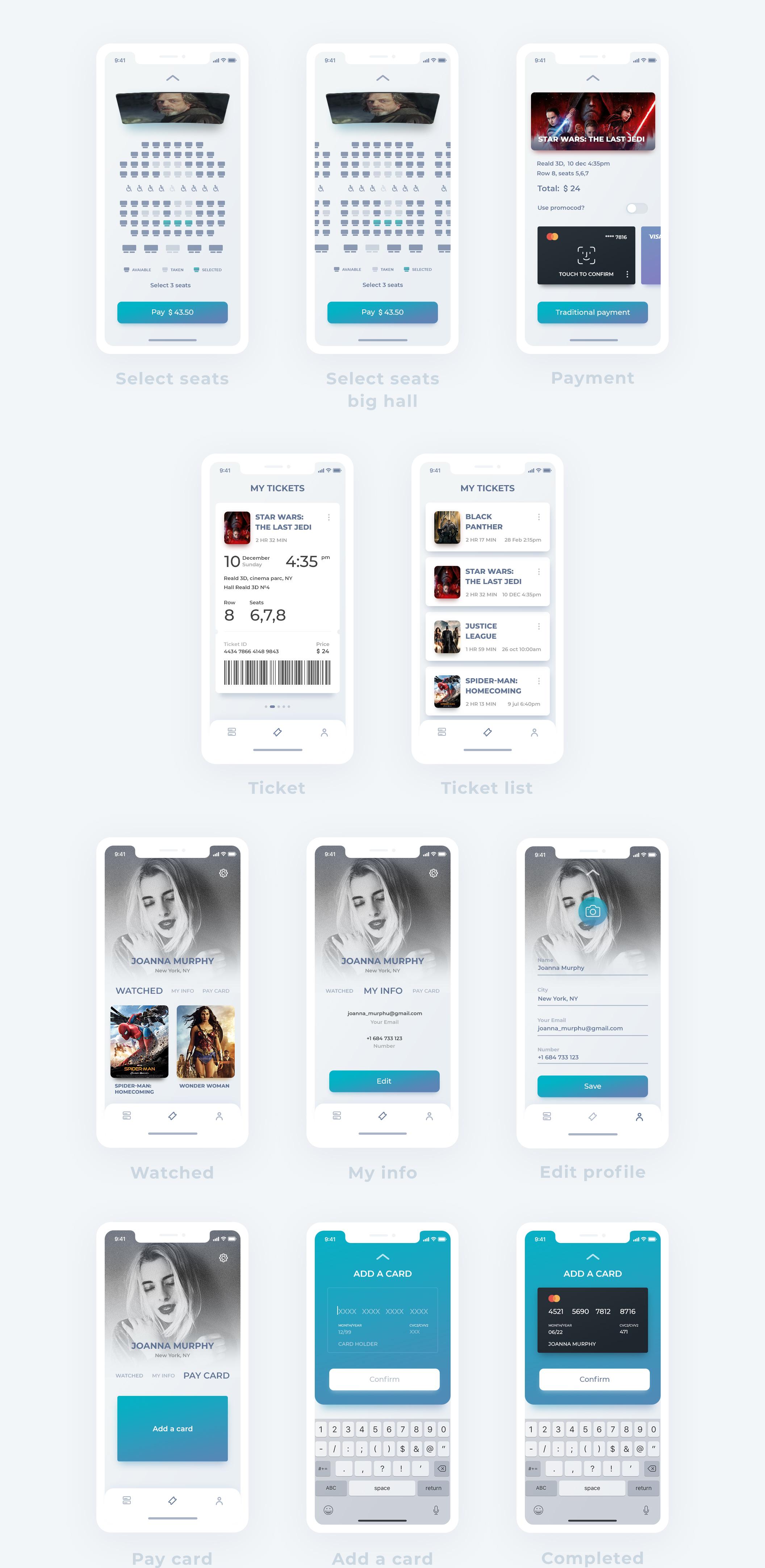 高品质的电影在线订票iOS APP UI工具包 EIGA Cinema UI KIt插图(2)