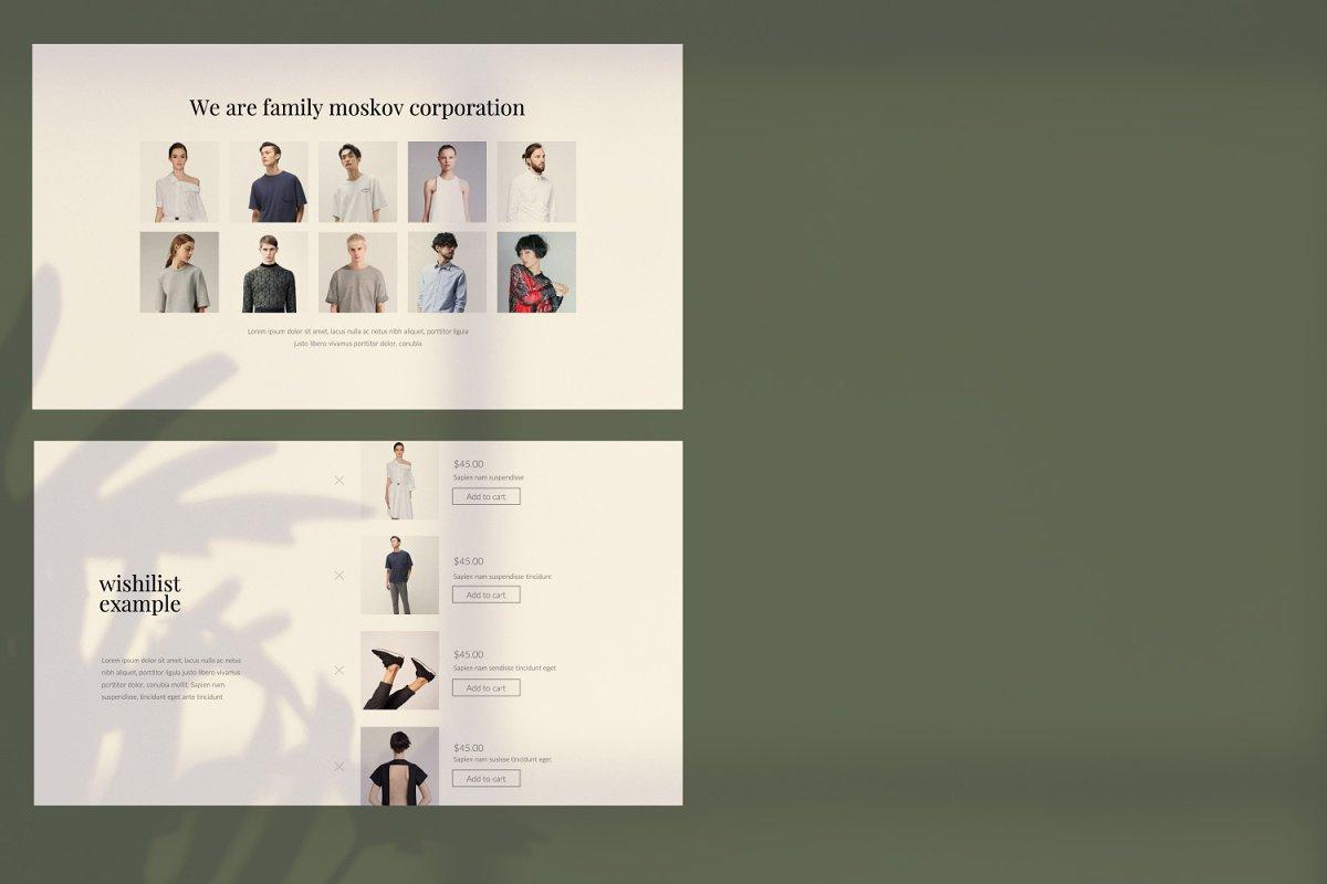 时尚创意多用途男女服装设计介绍PPT模板 Moskov. – Powerpoint插图(1)