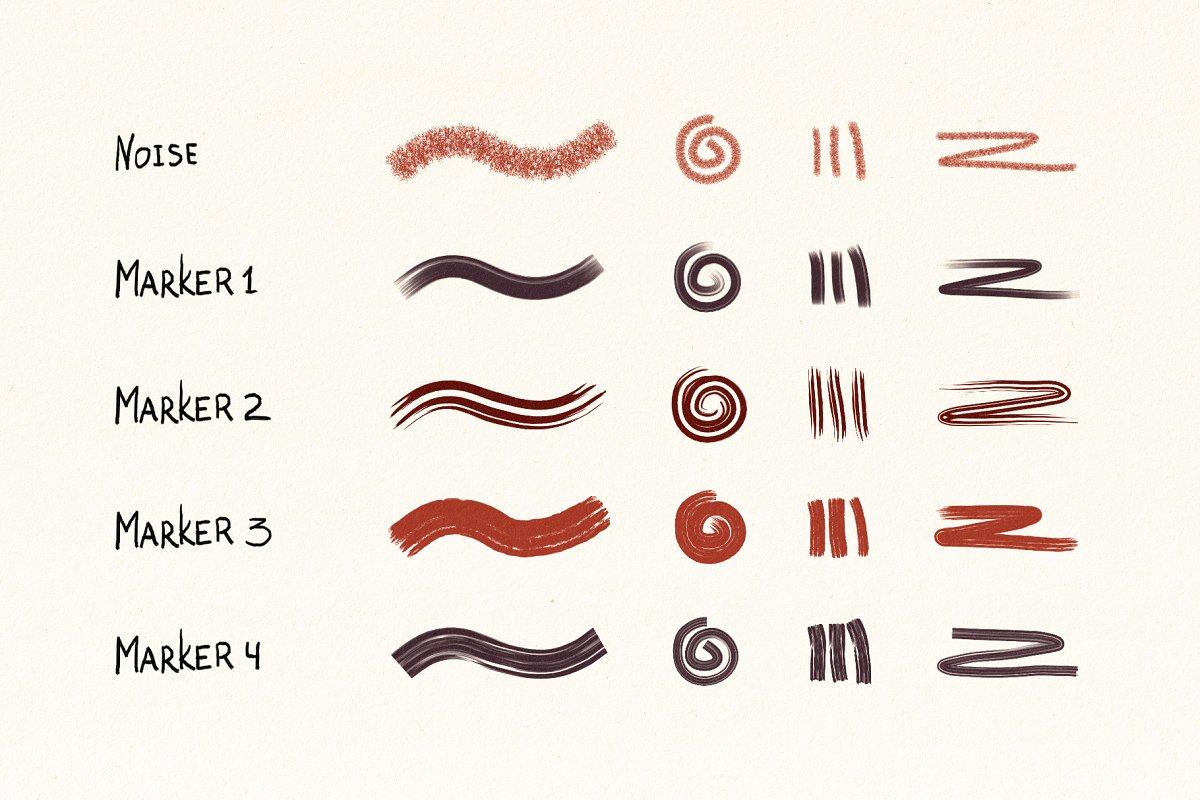 手绘海绵毛刺状Affinity笔刷 Hand Drawn Brushes for Affinity Designer插图(3)