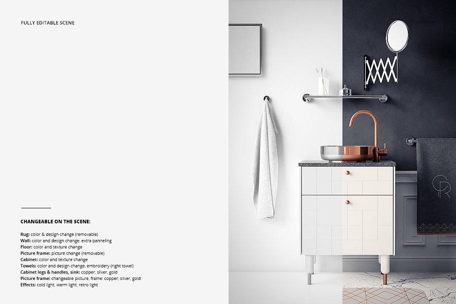 浴室装饰艺术样机集PSD模板 Art Deco Bathroom Mockup Set插图(3)