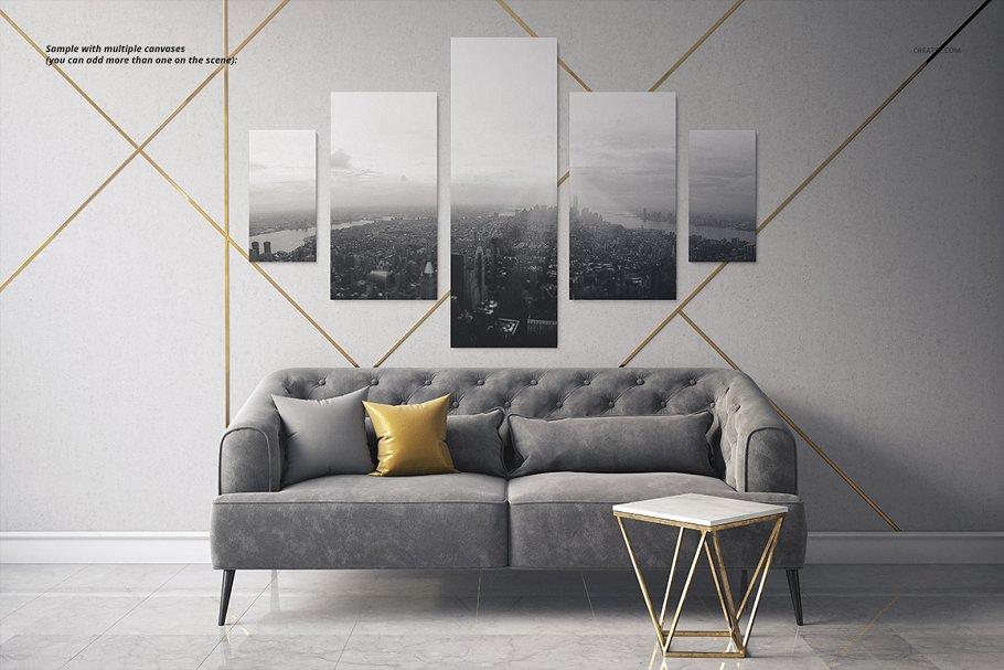 室内装饰艺术画照片帆布打印样机2 Art Deco 2 Canvas Print Mockup插图(4)