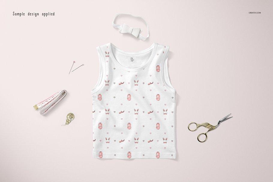 可爱的婴儿背心样机集 Baby Tank Top Mockup Set插图(3)