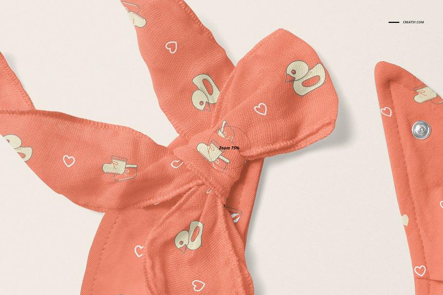 婴儿头巾围兜样机套装PSD模板 Baby Bandana Bib Mockup Set插图(5)