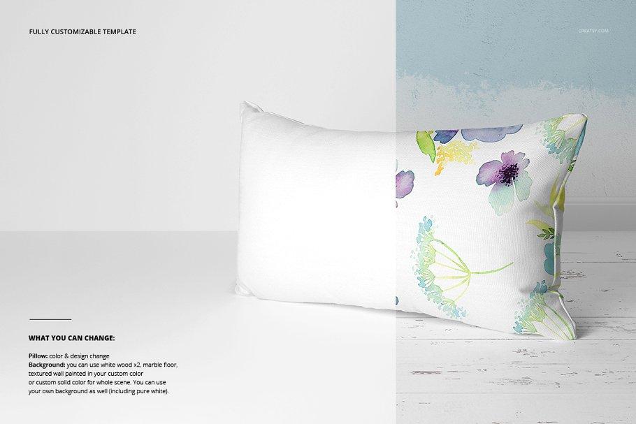 长方形抱枕纺织品样机PSD模板 Fabric Factory v5 Rectangular Pillow插图(4)