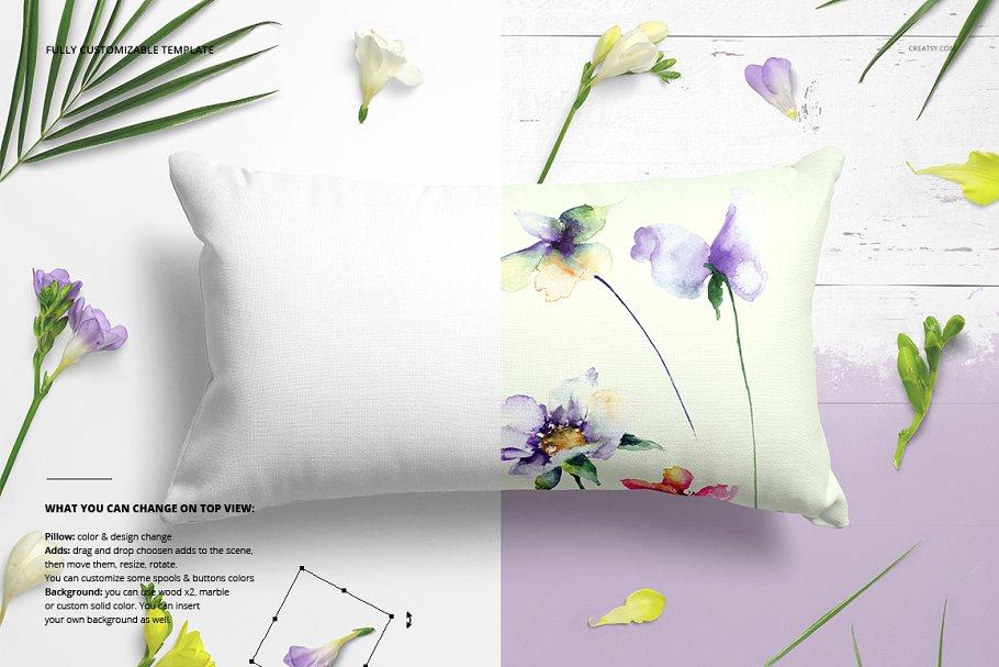 长方形抱枕纺织品样机PSD模板 Fabric Factory v5 Rectangular Pillow插图(5)