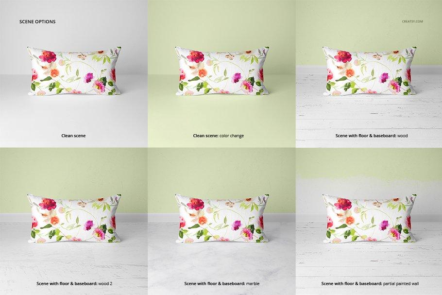 长方形抱枕纺织品样机PSD模板 Fabric Factory v5 Rectangular Pillow插图(6)