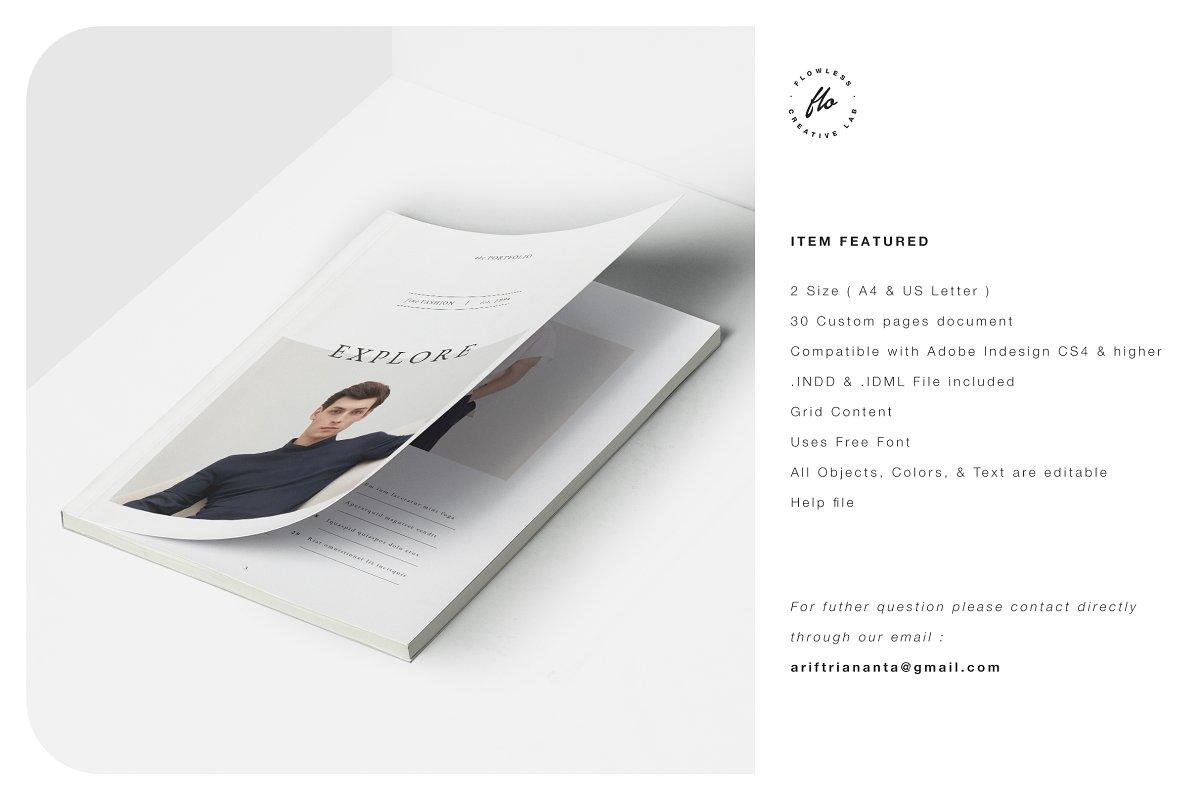 时尚潮流男士服饰画册INDD模板 EXPLORE Editorial Fashion Lookbook插图(5)