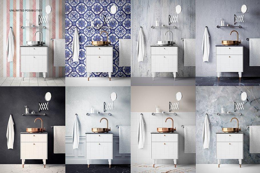 浴室装饰艺术样机集PSD模板 Art Deco Bathroom Mockup Set插图(8)