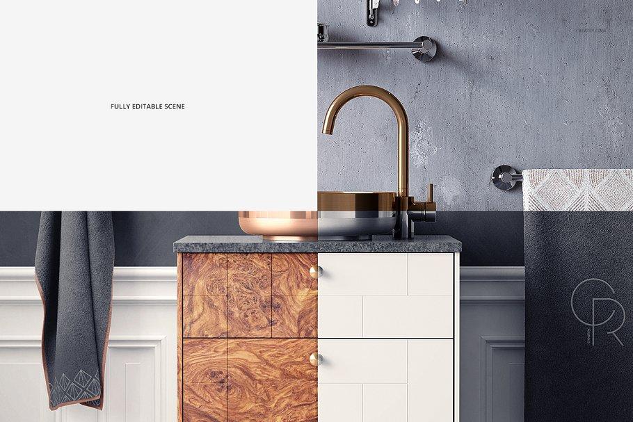 浴室装饰艺术样机集PSD模板 Art Deco Bathroom Mockup Set插图(10)