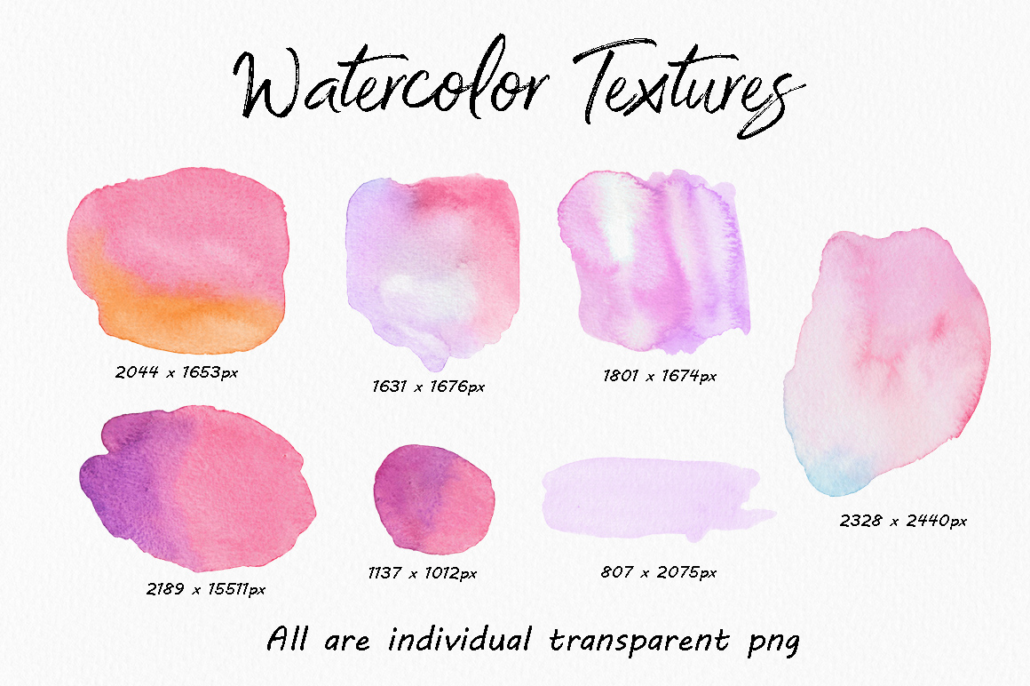 高分辨率多彩的水彩纹理工具包 The Colourful Watercolour Texture Kit插图(5)
