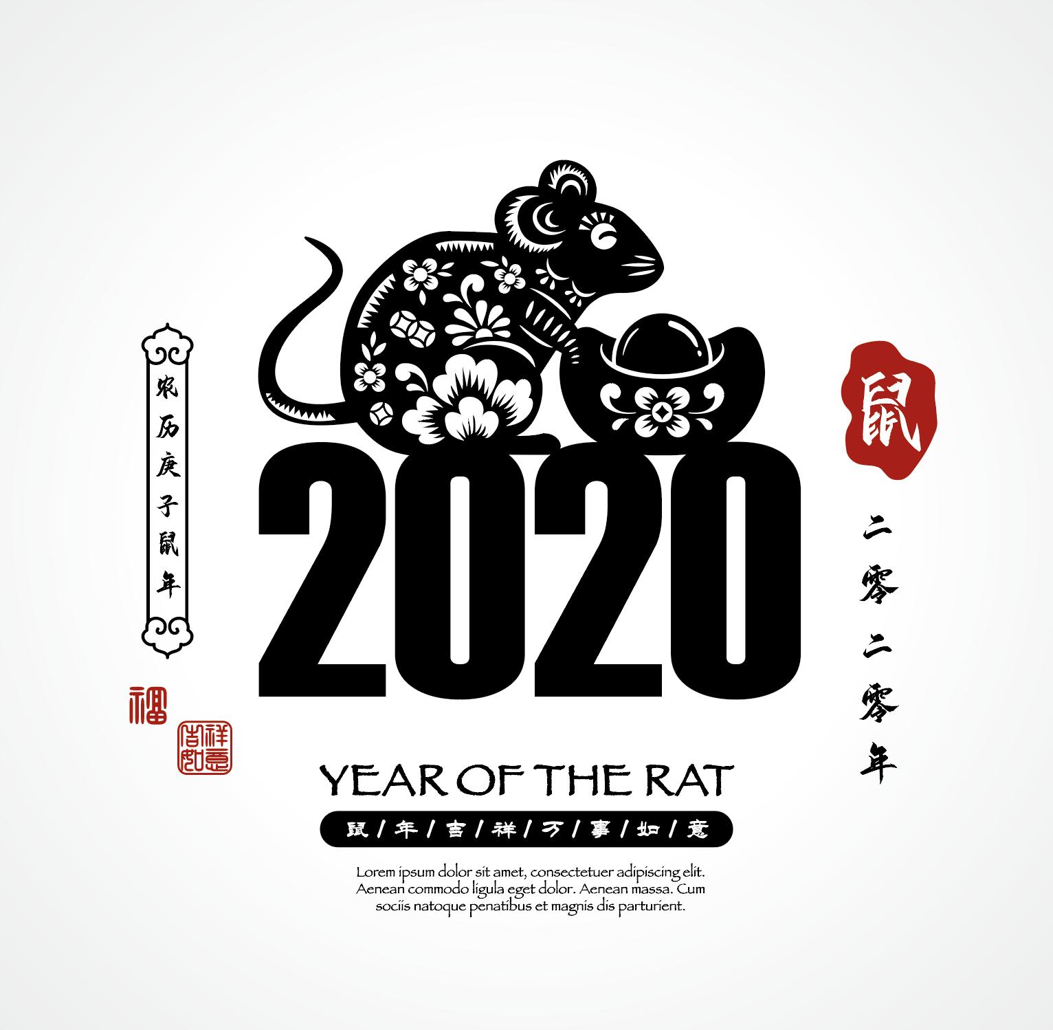 2020新年农历鼠年EPS矢量图形合集 Rat symbol New Year 2020 cartoon illustration 4插图(2)