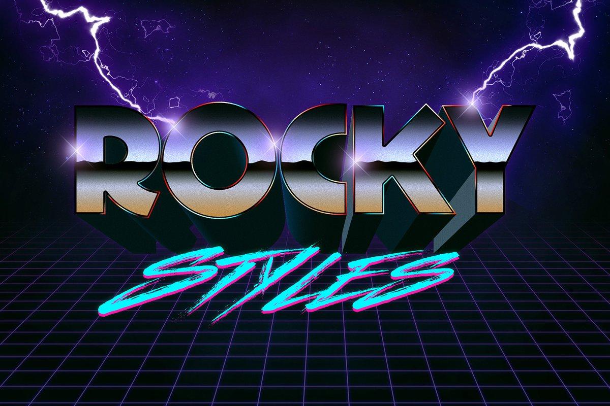 80年代复古3D文字效果图层样式Vol.1 80s Text Effects Vol.1插图(7)