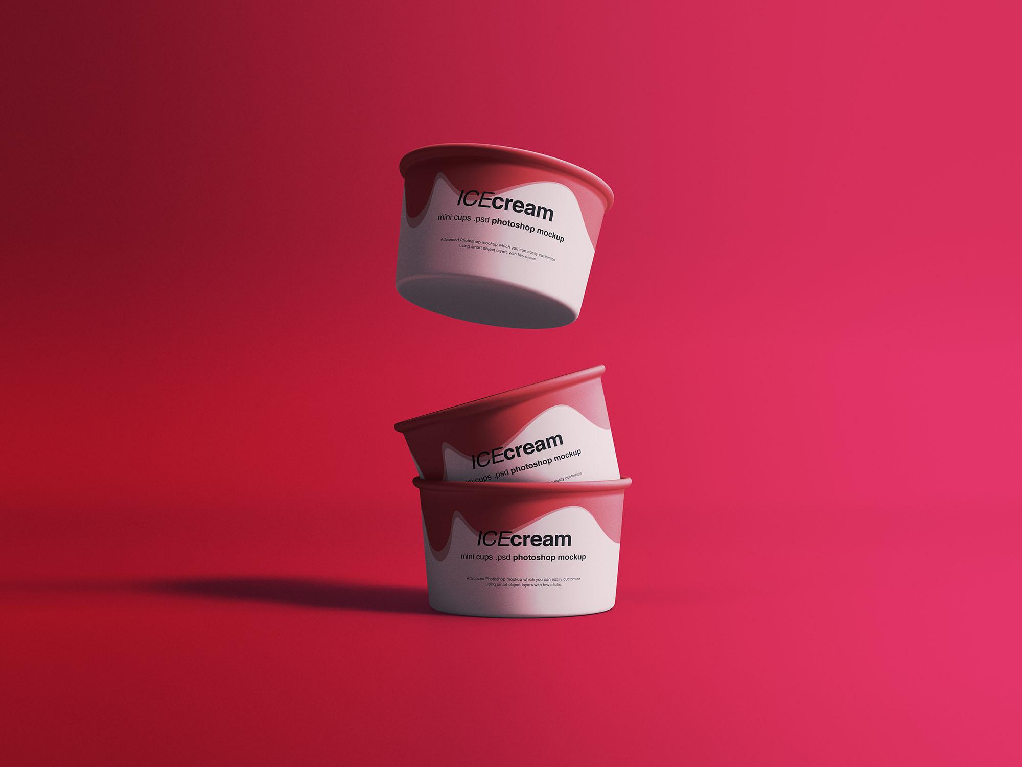 冰淇淋纸杯包装盒样机PSD模板 Ice Cream Cups Mockup插图1