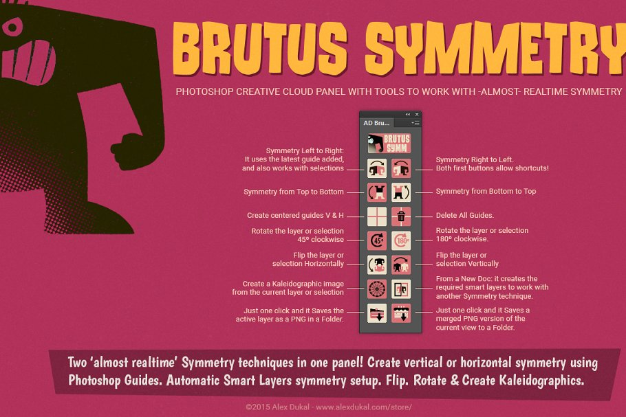 PS实时镜像对称插件 AD Brutus Symmetry (PS CC+ Panel) WIN&MAC 通用版插图