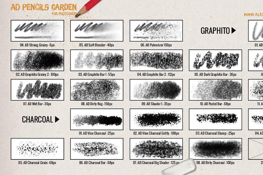 超强大的真实逼真铅笔素描纹理PS笔刷 The Pencils Garden插图(5)