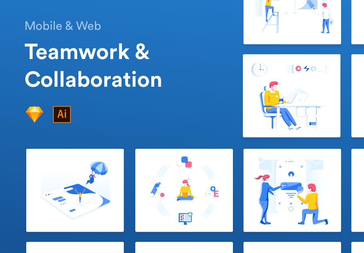 精心设计的团队合作和协作EPS矢量插图 Teamwork & Collaboration Illustrations插图