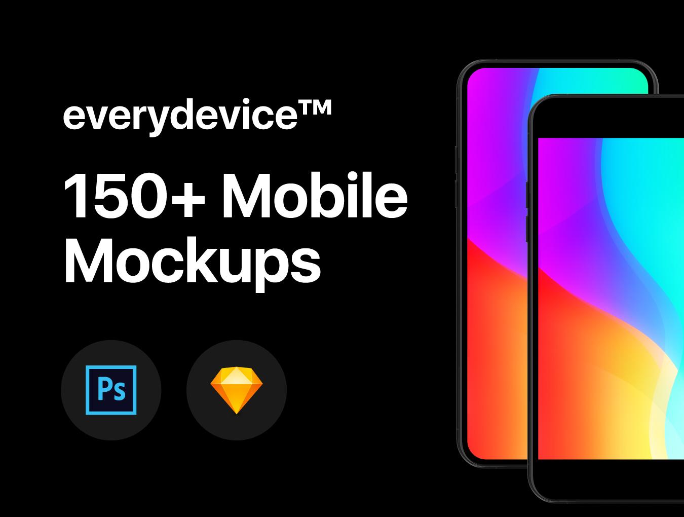 精美的150多种多角度通用手机样机 everydevice™ 150+ Mobile Mockups插图
