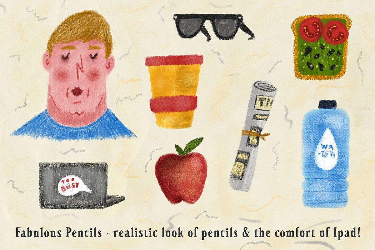 超逼真的手绘素描铅笔效果Procreate笔刷 Fabulous Pencils for Procreate插图(1)