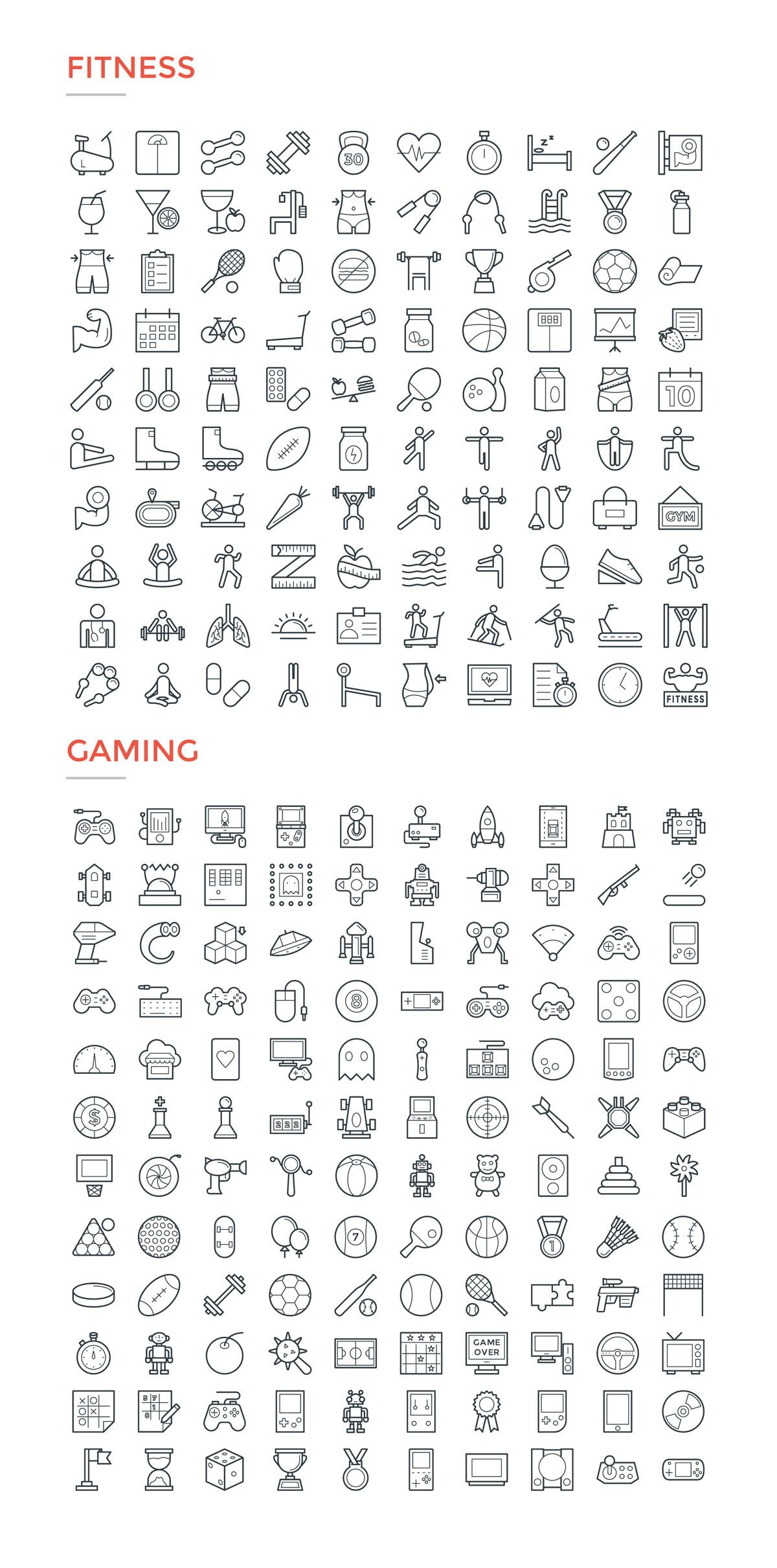 4800款独特的矢量图标合集 4800 Line Icons插图10