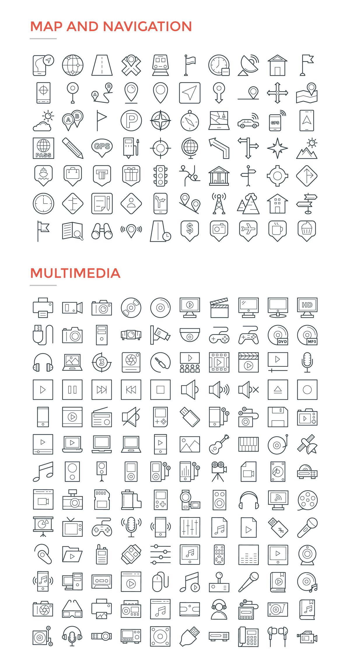 4800款独特的矢量图标合集 4800 Line Icons插图14