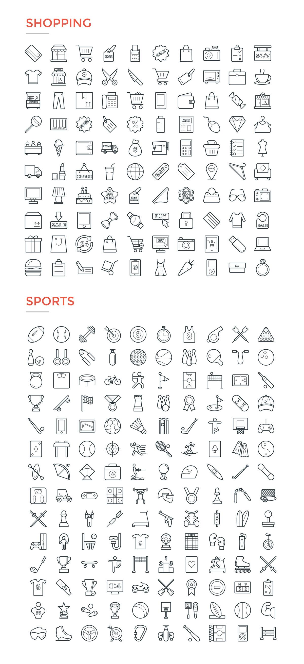4800款独特的矢量图标合集 4800 Line Icons插图16